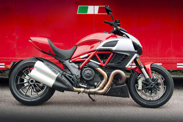 Red Italian motorcycle