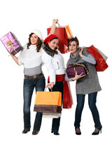 Women carrying bags and gifts