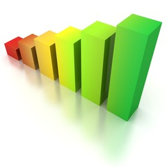 Colorful Rising Bar Graph On White Background