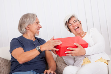 Laughing senior couple with red gift box
