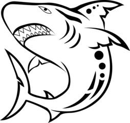 angry shark tribal tattoo