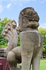 Lion statue made from sand stone at Phimai Historical Park