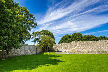 Garden and medieval wall in Scotland