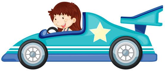 Cadres-photo bureau Voitures enfants girl driving a car