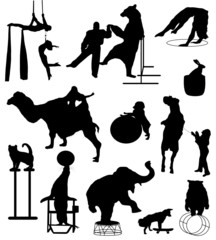 Collection of silhouettes of circus actors with animals