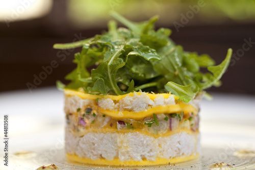 Entr e salade cuisine gastronomie plat crabe mangue for Entree gastronomique