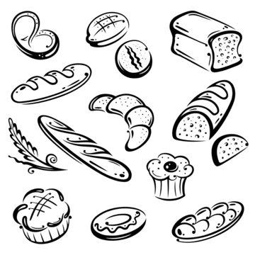 Backwaren, Bäcker, Bäckerei, Brot, vector set