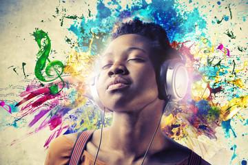 Black Girl with Headphones