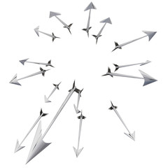 Flying metallic darts and arrows illustration
