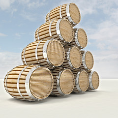 several barrels of alcohol drink storage