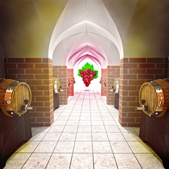 several barrels with old wine cellar and grapes perspective view