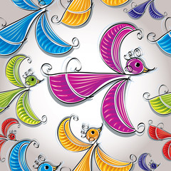 Colorful birds seamless pattern, vector wallpaper.