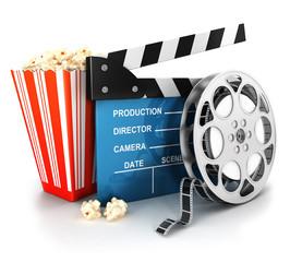 3d cinema clapper, film reel and popcorn