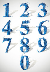 Abstract detailed smash vector numbers set.