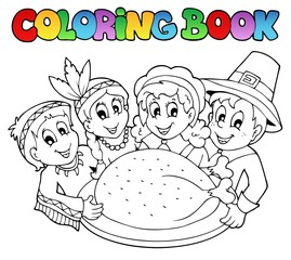 Fotorolgordijn Doe het zelf Coloring book Thanksgiving image 3