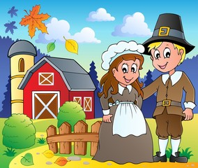 Wall Murals Ranch Thanksgiving pilgrim theme 2