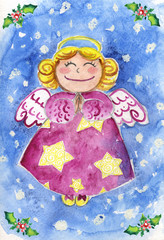 Watercolor of Christmas angel flying in a snowy sky.