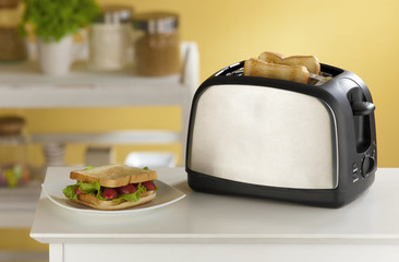 Modern design of the bread toaster for modern kitchen
