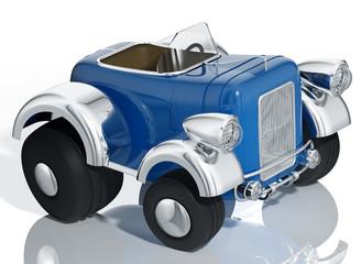 Cadres-photo bureau Voitures enfants Blue car hot rod isolated, 3d illustration.