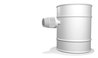 oil barrel with thermostat on white background - 3D