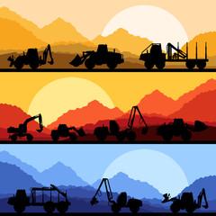 Highway truck wild nature landscape background illustration