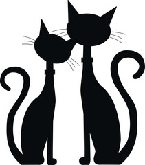 silhouette of two cats