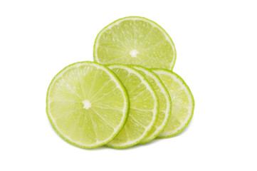 Lime slices isolated on white