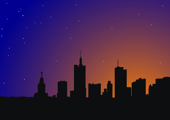 Beautiful city silhouette on a night sky background with stars