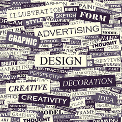 Wall Murals Newspapers DESIGN. Seamless word collage