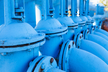 Blue oxygen gate valves in line. Close up