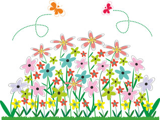 Abstract vector. Flower bed.