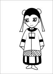 Chinese women vector cartoon