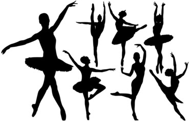 Ballet female dancers vector silhouettes on white background