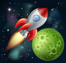 Poster de jardin Cosmos Cartoon rocket in space