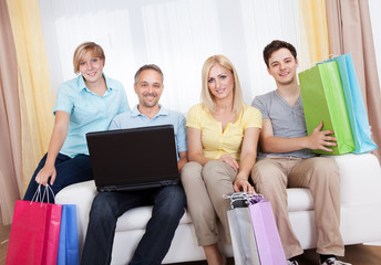 Family of online shoppers