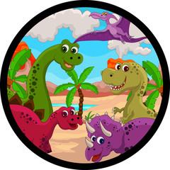 Photo sur Plexiglas Dinosaurs funny dinosaur cartoon set