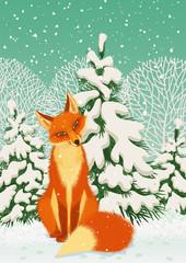 Fotorolgordijn Grijs Sitting red fox in the winter forest