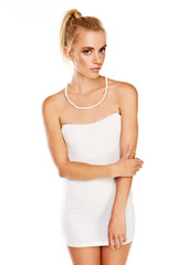 Beautiful woman in summer miniskirt