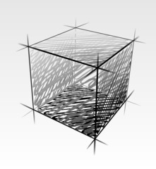 Hand drawn vector cube isolated