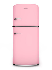 Retro pink refrigerator. Front view