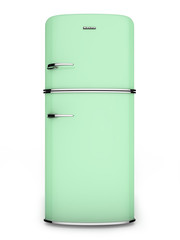 Retro green refrigerator. Front view