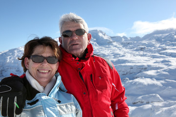 Senior couple on holidays in the mountain