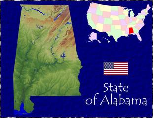 USA state Alabama enlarged map flag background
