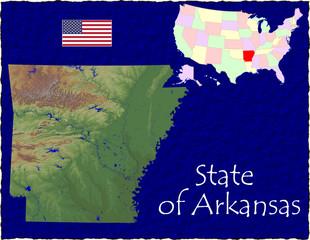 USA state Arkansas enlarged map flag background