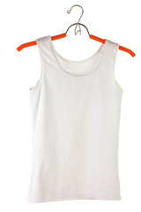 woman's white t-shirt on a hanger isolated on white