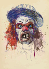 scary clown (drawing, old brown paper - background)