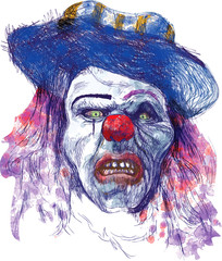 scary clown (drawing, isolated on white)