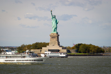 Tourists flocking to the Statue of Liberty, NY