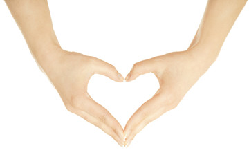 The form of heart shaped by female hands
