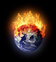 Burning earth globe east hemisphere